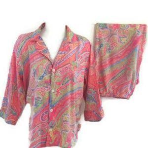 Ralph Lauren Pink Paisley Capri Pajama Set